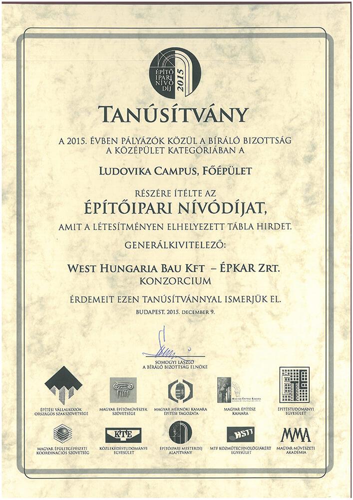 Ludovika Campus Főépület Építőipari nívódíjat érdemelt