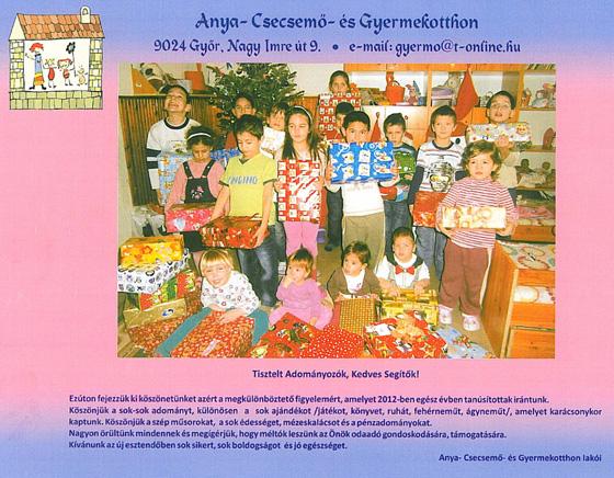 Anya- Csecsemő- és Gyermekotthon támogatása 2012-ben.