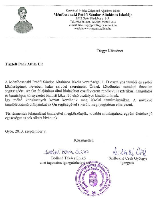Ménfőcsanaki Petőfi Sándor Általános Iskola támogatása