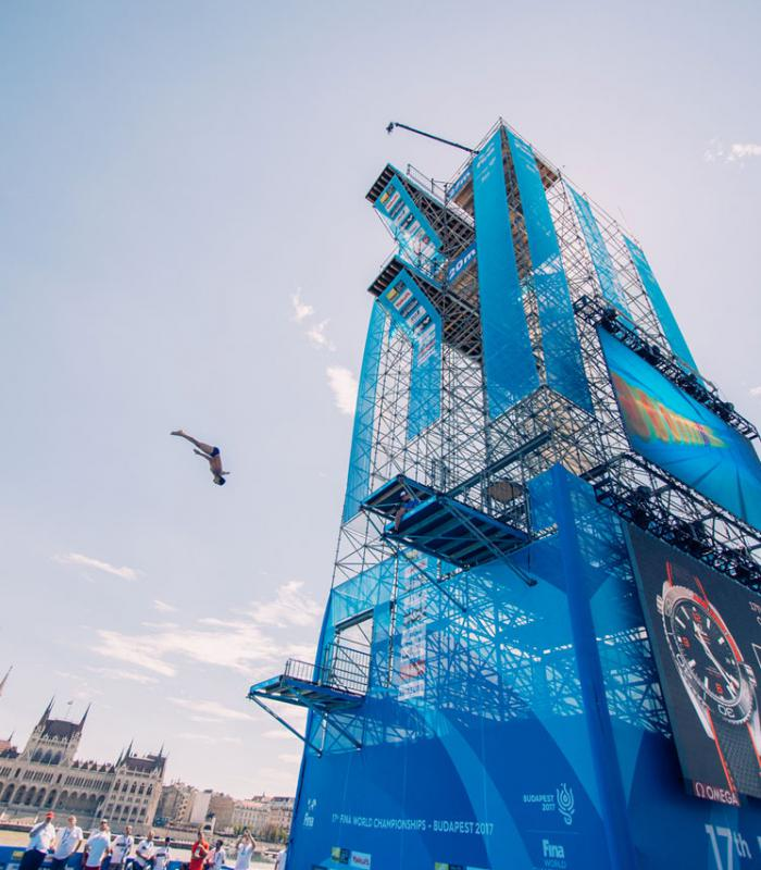 A FINA VB egyik legkülönlegesebb helyszíne volt a WHB által felépített ugrótorony