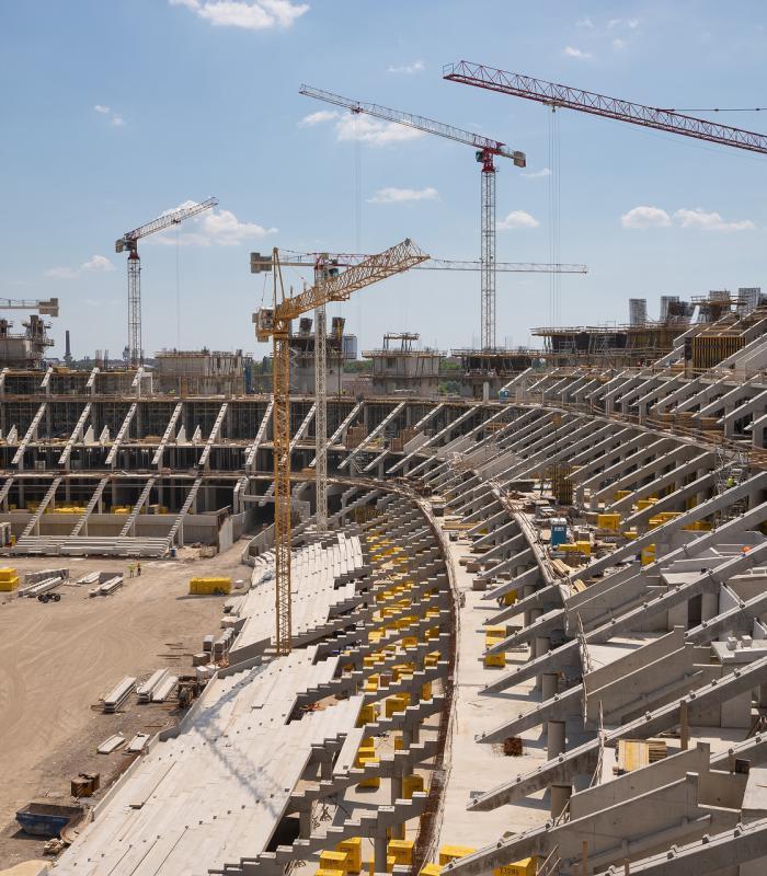 Puskás Ferenc Stadion acél tetőszerkezet beemelése