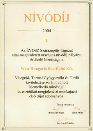2004 ÉVOSZ Szárazépítő Tagozat NÍVÓDÍJ