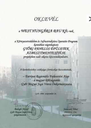 2006 Győr Megyei Jogú Város Önkormányzata KIOP Azbesztmentesítés